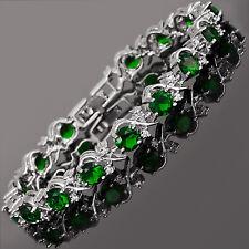 Xmas Rhinestone Round Cut Green Emerald Tennis 18K White Gold Plated Bracelet