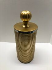 "Gold Vase w/ Lid 14 1/2"" Square Checked Pattern Decorative Home Centerpiece"