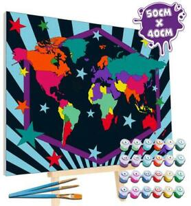 Splat Planet Wold Map Paint By Numbers - Large Giant Framed Canvas Art Set