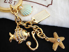 Coach Under the Sea Multi Mix Clam Fish Starfish Pave Crystal Key Ring Charm NEW