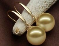 Round natural AAA 16mm Australian south sea golden shell pearl earrings 14K gold
