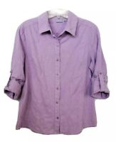 Laura Scott Women's Purple Button Up Blouse Top Shirt Embroidery Floral Roll Tab