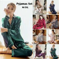 Womens Silk Satin Pajamas Set Long Sleeve Tops T Shirt Pant Sleepwear Loungewear