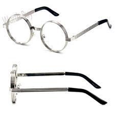 Mens Womens Fashion Steampunk Clear Lens Glasses Retro Metal Round Frame Circle