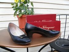 Salvatore Ferragamo Vintage Classic Black Pumps w/Gold Detail Hardware, 6.5 box