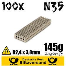 100x Neodym Magnet Zylinder D2,4x3,8mm N35 - kleine Magnete Experimentiermagnete
