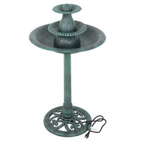 "36"" Resin Garden Water Fountain Birdbath W/ Pump Outdoor Home Verdigris New"