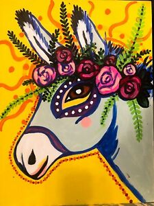 Original Art Acrylic Painting Mexican Style Donkey on wood board by Tom A. Ford