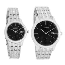Citizen Eco Drive Mens & Ladies Stainless Black Dial Watch PAIRS-2015