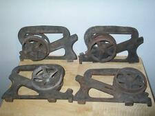 4 Antique Ives Cast Iron Pocket Barn Door Rollers Architectural Hardware c 1886