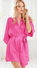 victoria secret Pink ROBE LOUNGE KIMONO WRAP NWT! SM/MED LOVELY PINK SATEEN