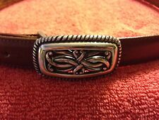 'Talbots' Brown Leather Belt Silver-Tone Buckle - M - VGUC
