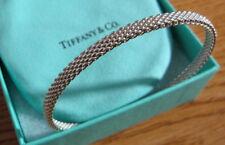 NEW Tiffany & Co. Somerset Mesh Narrow Bangle Medium Thin Sterling Silver 925