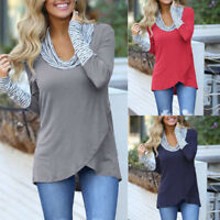 Fashion Women Cowl Neck Striped Printed Long Sleeve Sweatshirt Tunic Tops Blouse