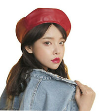 Women's Faux Leather Beret Solid Plain Flat Top PU Berets Hats French Style Cap