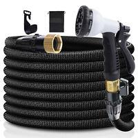 Expandable Flexible Garden Water Hose Spray Nozzle 75/100 Feet Heavy Duty Black