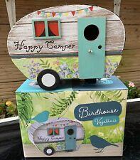 New In Box Novelty Hanging Happy Camper Caravan Bird House Feeding Station