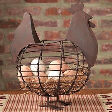 Primitive~Reproduction  Rooster*Chicken Farmhouse Basket`Eggs` Country House`