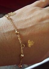 18k Gold Hamsa Charm w 2 Little Bells Bracelet Yoga Love dainty minimalist Adj.