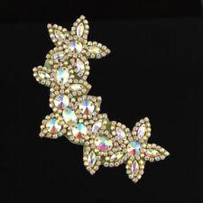 Sew Iron on Beaded AB Rhinestone Applique Trim Gold Bridal Dress Sash Crafts
