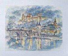 Heidelberg Castle Illuminated - Original Watercolor Print - by MS Cheney