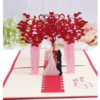 3D Pop Up Greeting Cards Handmade Valentines Day Creative Post Wedding Card