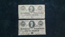 TWO CONFEDERATE STATES OF AMERICA NOTES FEB 17th 1864 50 CENT NOTES 50C BILLS!