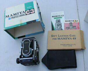 VINTAGE MAMIYA C3 PROFESSIONAL TLR CAMERA WITH LENS CASE MANUALS & ORIGINAL BOX