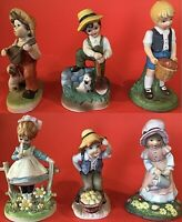 """COUNTRY CHILDREN FIGURINES PORCELAIN LOT OF 6 BOYS AND GIRLS 2 LEFTON 5"""" VINTAGE"""
