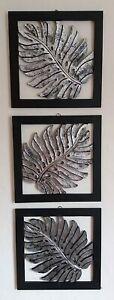 Hand Made Set of 3 Distressed Silver Fern Wall Art Plaques Unusual Bali Wall Art