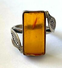 Vintage Ladies Amber Ring Sterling Silver 925 Size 6