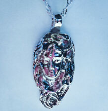 """OOAK sterling silver pendant Goddess face with two Amythyst cz's on 18"""" SS chain"""