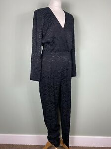 M&S Black Satin Jacquard Smart Party Occasion Tapered Jumpsuit Size 12