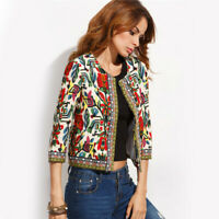 Womens Multi colour printed Tribal Jacket/Coat with Embroidery, lined,Boho, BNWT