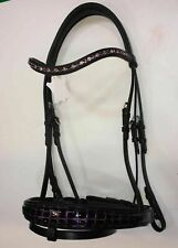 Tack-Store  Crocodile Patent Leather Bridle with 8mm Crystal Browband