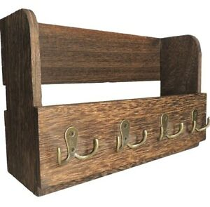 Wooden Wall Mount Mail & Key Holder Organizer Rustic Brown Entryway Home Decor