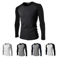 Men Casual Slim Long Sleeve Raglan Contrast Color Cotton+Polyester T-shirt Tops