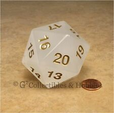 NEW 55mm Pearl White w/ Gold Numbers Giant Jumbo Countdown D20 Dice MTG RPG
