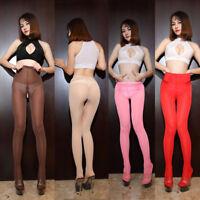 WOMEN Zipper Open Crotch See Through Trousers Ice Silk Pantyhose Transparent