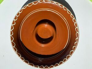 Williams-Sonoma Candle Holder Hurricane Ceramic Tribal Paprika 2 inch Pillar