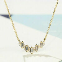 1.50 Ct Baguette & Round Cut Diamond Pendant Necklace 14k Yellow Gold Finish
