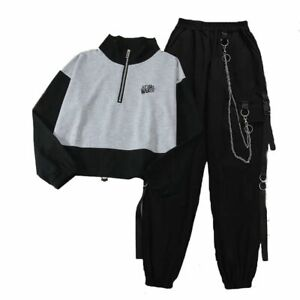 Autumn Fashion Two Pieces Suits Sports Pullover Plus Chain Cargo Pants For Women