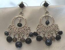 Boho Silver Black Bead Chandelier Dangle Gypsy Hoop Earrings Hand Crafted