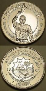 1993 Nolan Ryan Coin - $1 Liberia - Uncirculated - 7th No-Hitter