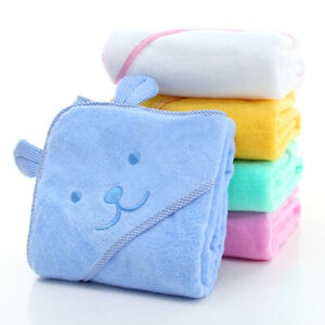 Colourful large soft cotton baby toddler hooded towel animal bear 90x90cm