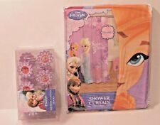 Disney Frozen Anna & Elsa Purple Fabric Shower Curtain & Matching Hooks Set NEW