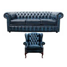 Sofagarnitur Chesterfield Polster Couch Sofa Leder Sitz Garnitur Ohrensessel 421