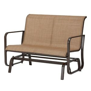 "Mainstays Sand Dune 2-Seat Outdoor Glider, Tan 28.5"" x 45.6"" x 35.4 ""; 33.06 lbs"