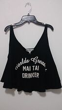 Wildfox Couture 'Mai Tai' Graphic Crop Tank In Black Size M