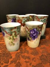 6 Rare Antique Pk Silesia Porcelain Cups Tumblers Hand Painted, Signed